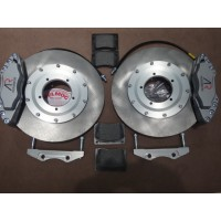 F0011E	VENTED FRONT BRAKE DISC SET + RACE CALIPERS 15 INCH LATER WHEELS +8