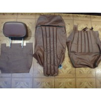 T02502 SEATER 1979 SEAT TRIM SET 2 HEADREST BROWN GREEN PIPING